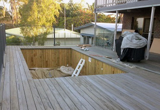 pool decking on coping