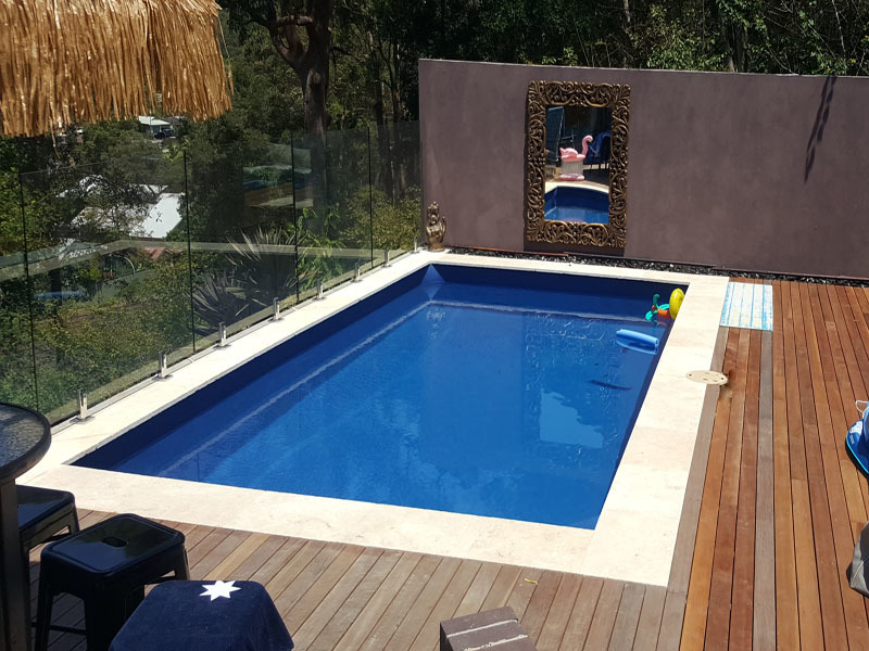 NSW - Brightwaters 6 x 3.3 Dark Blue, one row of pavers then decking