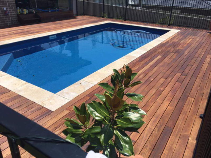 NSW - Brightwaters 7 x 3.5 Dark Blue, one row of pavers then decking