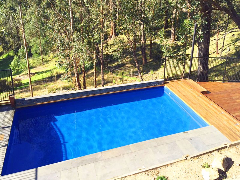 VIC - Small feature wall, pavers and decking - dark blue
